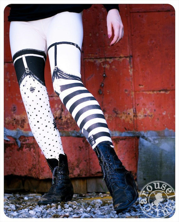 REDUCED - Pippi Leggings - Nude with Black Striped and Polka Dot Legging - SMALL Womens Tights