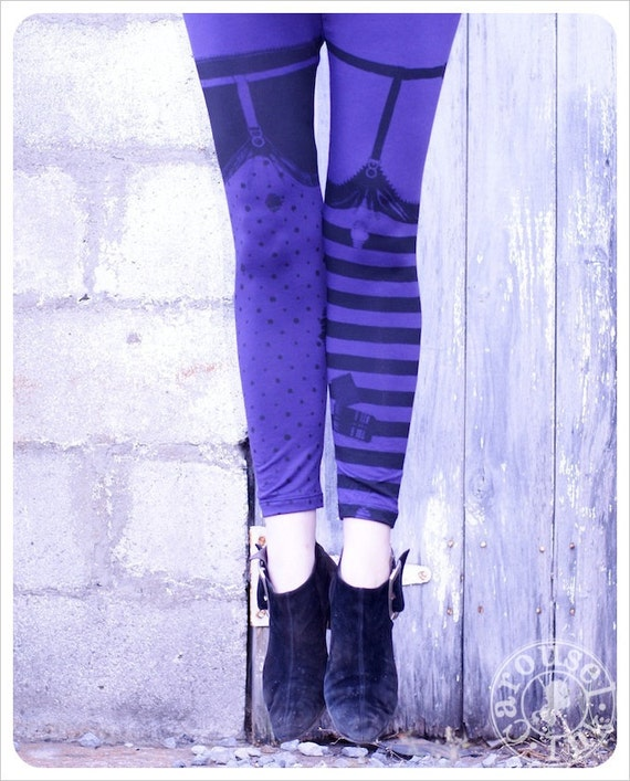 Pippi Leggings - PURPLE and Black Striped Legging Polka Dot Legging  - purple -  WITCH Legging -  LARGE Legging Womens Tights