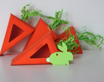 Easter Carrot Favor Treat Box with Bunny Tag
