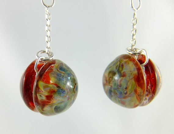 Red borosilicate glass earrings, yo-yo beads, gift under 50, winter fashion, lampwork, swing, sterling: simply red passion by Simply Adorned