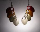 Scale earrings - fire colour