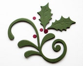 Holly and Mistletoe Flourish Die Cuts - Handmade die cuts, tags, and paper crafting supplies by UniquesStashNStuff