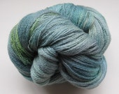 Pine Needles lace weight yarn, hand dyed / painted Blue Faced Leicester