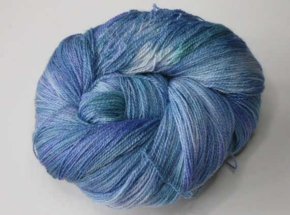 Lavender Patch lace weight yarn, hand dyed / painted Blue Faced Leicester & Silk