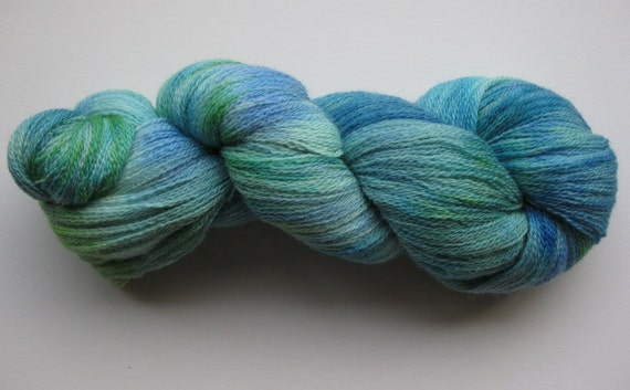 Emerald Forest BFL lace weight yarn, hand dyed / painted Blue Faced Leicester