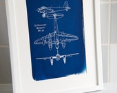 De Havilland Mosquito MK.34 A4 Hand coated traditionally made cyanotype blueprint