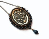 Vintage inspired pendant, Marie Antoinette, bead embroidered necklace