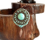 Turquoise necklace, beaded pendant in turquoise and brown, bead embroidery OOAK
