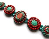 Turquoise coral bracelet, bead embroidered Southwestern statement jewelry with gemstones RESERVED FOR BETH