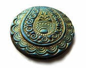 Polymer clay cabochon, handmade, shimmery teal and gold, rich paisley, 1.2 inch 3 cm