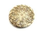 Faux ivory cabochon, polymer clay, India-inspired, imitated carved bone, 3.5 cm