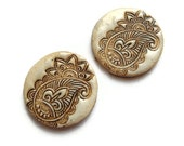 Faux ivory cabochon, polymer clay, henna paisley, carved bone, set of 2, 25 mm