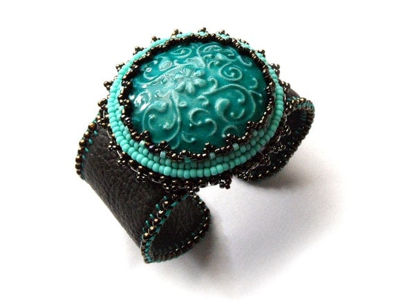 Items similar to turquoise leather cuff bracelet bead