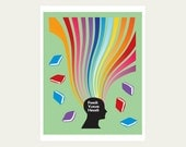 Books and reading art print poster Feed Your Head 11 x 14 in bright colors