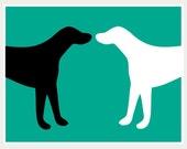 Pop art print Black Dog White Dog on teal