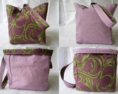 Knitting Project Bag/Crochet Project Bag (reversible wristlet) in purple and green swirls and lavender/lilac