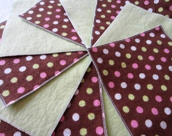 Flannel Cloth Diaper Wipes for Baby, Polka Dot Pink and Green on Brown (10)