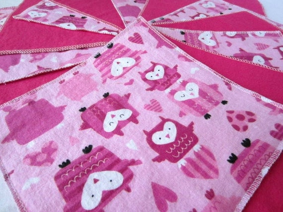 Owl Flannel Wash Cloths/Cloth Diaper Wipes for Baby (6)