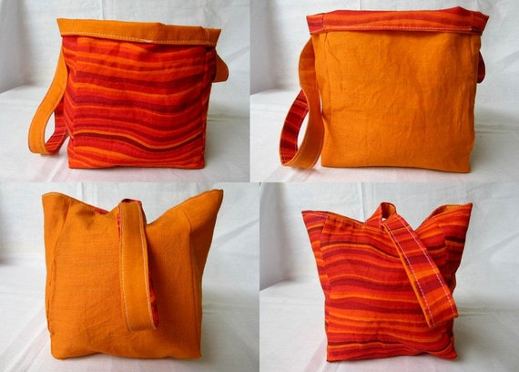 Knitting Project Bag/Crochet Project Bag (reversible wristlet) in oranges and reds