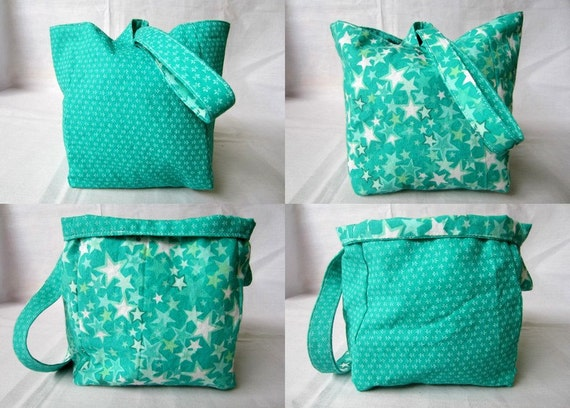 Knitting Project Bag/Crochet Project Bag (reversible wristlet) in green/teal with stars
