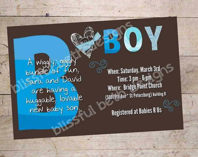 PERSONALIZED BABY INVITATION Blue and Brown Baby Boy Shower Invitation, Printable Baby Shower Invitation, Personalized Baby Shower Invite