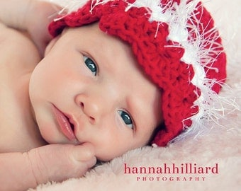 Red Fur Hat, Mary Jane Shoe Booties, Baby Girl Christmas Hat Set, Infant 3 to 6 Months Size