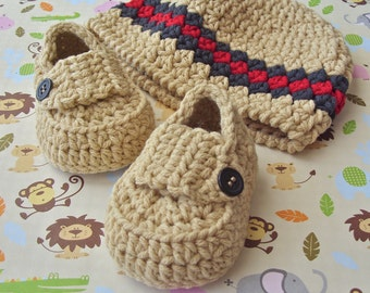 Boy Baby Beanie, Crochet Baby Booties, Crochet Baby Shoes, Crochet Baby Hat, 3 to 6 Months Size