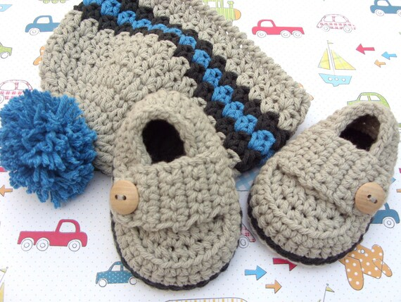 Crochet Baby Loafers and Hat Gift Set Ready To Ship 0/3 months