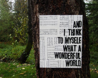"16x20 "" What a Wonderful World..."" Lyrics from  Louis Armstrong's ""Wonderful World"".  Vintage music sheet canvas art"