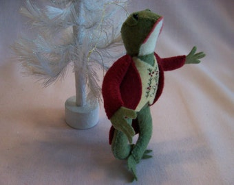 Simon, Handcrafted Felt Frog Ornament - Dressed in Ruby