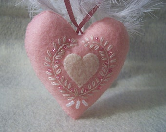 Pink Felt Heart Ornament