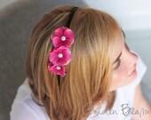 Headband with Flowers - Three Pink Flowers Alice Handmade Headband