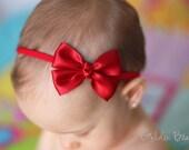Christmas Headband, Hair Bands, Baby Headbands, Newborn Headband, Girl Headbands, Flower Girl - Like a Butterfly Satin Red Bow - Golden Beam