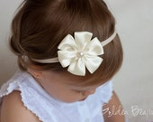 Baby Flower Headband - Ivory Satin Petal Flower Handmade Headband