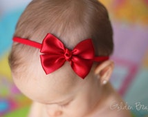 Baby Red Bow - Flower Girl Headband - Red Like a Butterfly Satin Bow Baby Handmade Headband