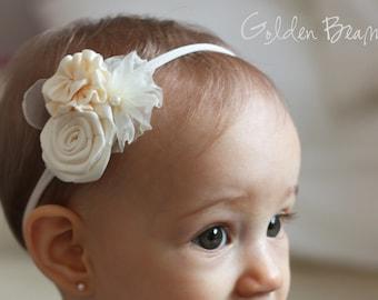 Flower Girl Headband -  Three Ivory Flowers Bouquet Handmade Headband - Flower Girl Hair Accessory - Baby to Adult Headband