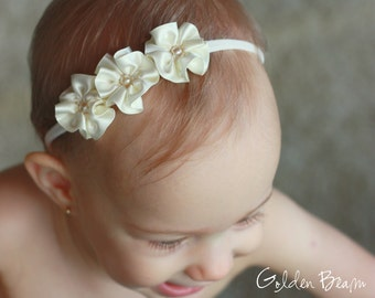 Flower Girl Headband - 3 Ivory and Pearl Flowers Handmade Headband - Baby to Adult Headband