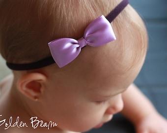 Baby Headbands Bows - Flower Girl Headband - Small Satin Lilac and Purple Bow Handmade Headband