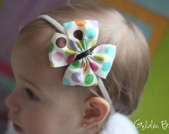 Baby Headbands Bows - Large Colourful Polka Dot Print Bow Handmade Headband - Baby to Adult Headband