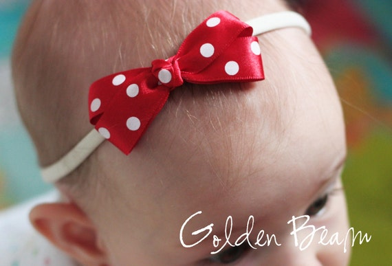 Polka Dot Baby Headband - Red Dotty Bow Handmade Headband - Baby to Adult Headband