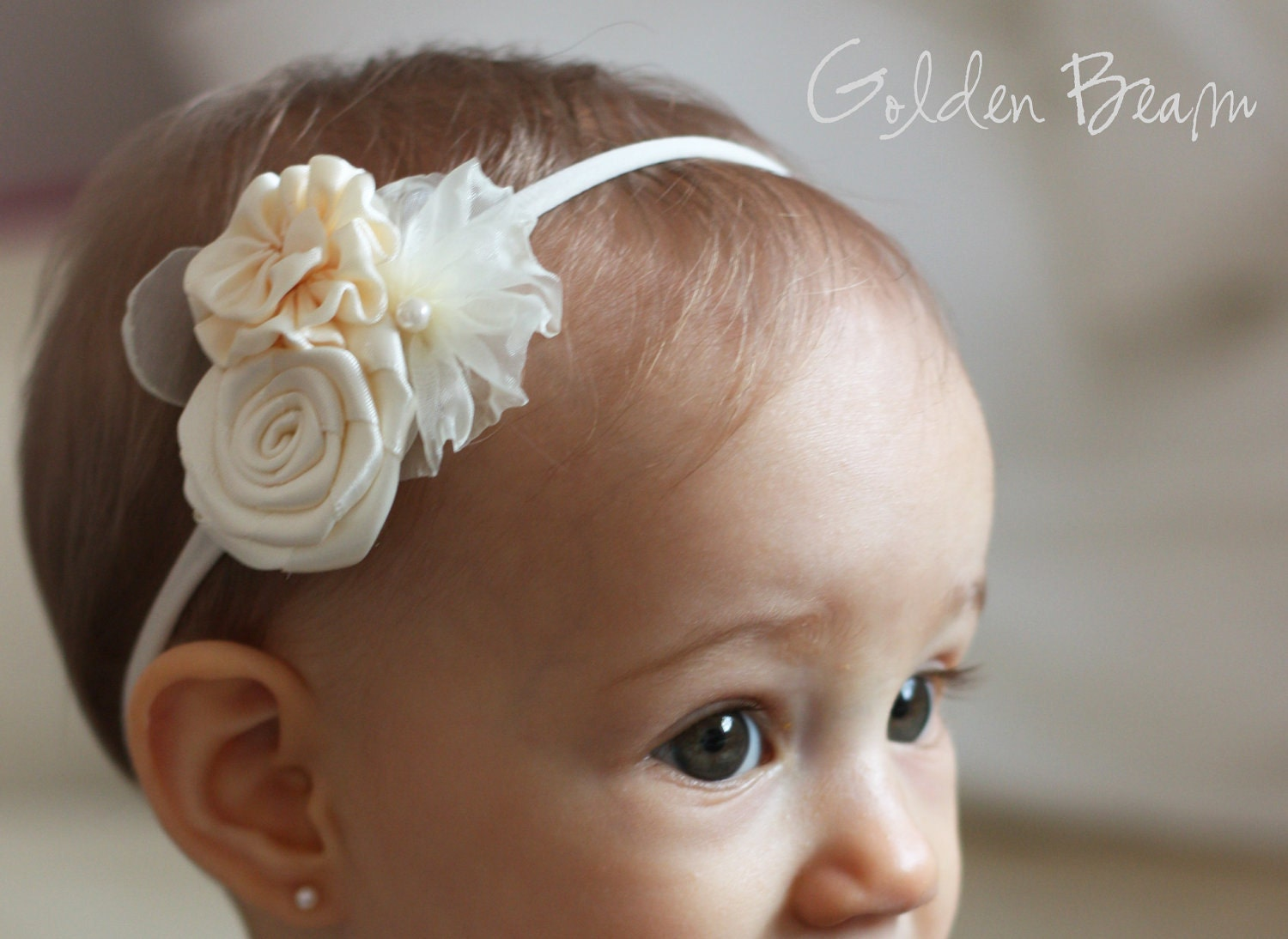 Flower Girl Headband Three Ivory Flowers Bouquet Handmade