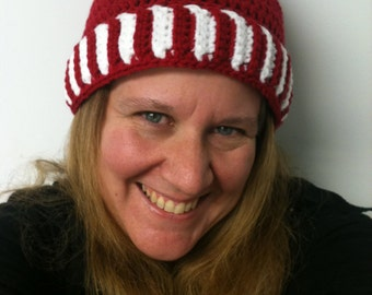 Peppermint Twist Red and White Cloche Hat with Candy Stripe Trim - Adult Sized