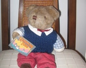 Plush Kensington Bear dressed in knit vest and courduroys