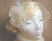 Winter Wedding Birdcage Veil Snowflake Swarovski Flower Fascinator Set, Tiffany Blue Feather Fascinator, Bridal Veil - Snowflake Princess