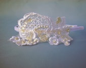 Beaded Lace Bridal Headband, White Pearl Lace Bride Headband, Bride Headband, Birdcage Veil Bridal Headpiece, Lace Tiara - Angelica