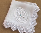 Something Blue Bride Wedding Hanky, Bridal Shower Gift - Silk Bridal Handkerchief with Embroidery Lace, Swarovski Crystals & Lace Monogram