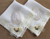 Personalized Mother of the bride gift Handkerchief set Mom wedding hanky Mother of the groom gift Ivory lace handkerchief Monogram Hankie
