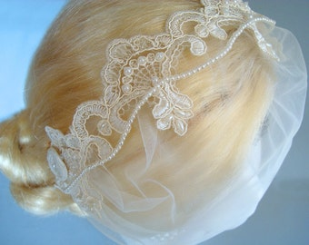 Ivory Vintage-Style Lace Bridal Headband w/ Detachable Birdcage Veil, Tulle Bandeau, Beaded Wedding Tiara, Pearl Headband, Great Gatsby