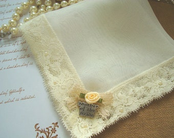Mother of the Bride Gift Wedding Hanky, Mother of the Groom Gift, Bridal Handkerchief, Ivory Silk Lace Handkerchief, Personalized