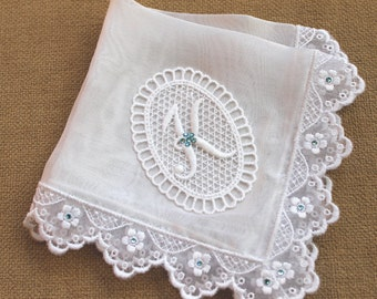 Something Blue bride handkerchief Monogrammed handkerchief Silk bridal handkerchief Lace Wedding hanky Bridal shower gift Personalized Hanky